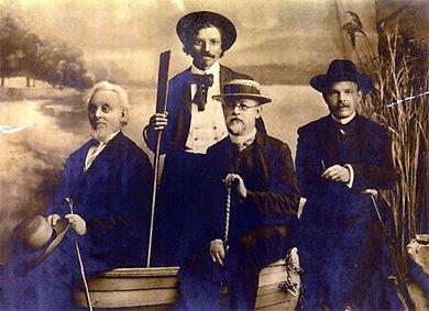 Jewish Writers in Odessa 1910; (l-r) Mendele Mocher Sefarim, Sholem Aleichem, Ben-Ami, H.N. Bialik; courtesy Wikimedia Commons