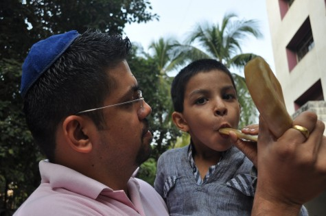 Blowing of the Shofar announces the first Limmud India.