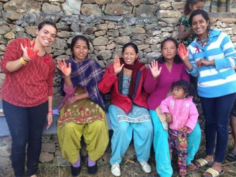 Emily Sasser with women in Bhwasa, Nepal; photo courtesy Tevel b'Tzedek.