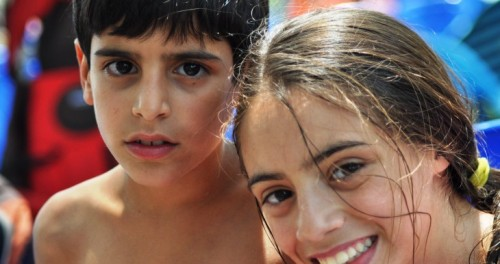 Hadar Hollander with her brother; photo courtesy The Jewish Agency