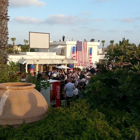 The U.S. Ambassador's residence in Israel decked out in red, white and blue;  courtesy one of the many Jewish communal professionals in attendance.