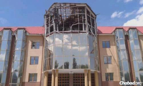 Missile damage has devastated much of Lugansk.