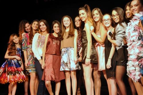 Sabina Stermklar-Davis (sixth from the left) with Sderot?s budding ?fashionistas.?