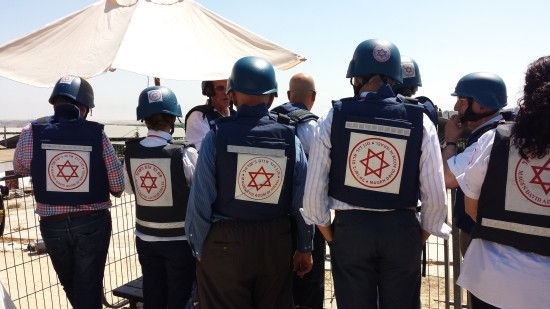 The American Friends of Magen David Adom (AFMDA) donors' mission to Israel during Operation Protective Edge last summer; photo courtesy AFMDA.