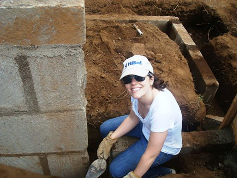 Sheila helping to build a community center during a Hillel-AJWS alternative spring break trip