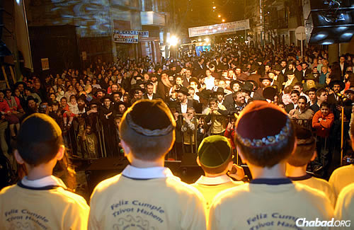 The Jewish history of Argentina is as rich and varied as the rest of its culture. Here, the Tzivos Hashem boys choir performs at a holiday celebration in Argentina. Photo courtesy Chabad.org.