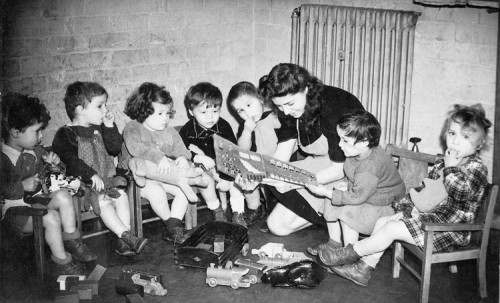 Child survivors of the Holocaust sent from Poland for rehabilitation in children's home in England; photo courtesy Yad VaShem.