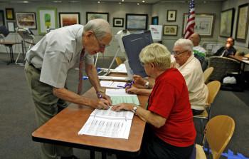 Voting in Utah's primary,  Salt Lake City, 2012.