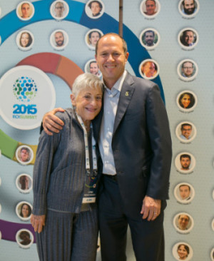 Lynn Schusterman and Mayor of Jerusalem, Nir Barkat, at the opening ceremony of the 2015 ROI Summit. Photo by Noa Magger.