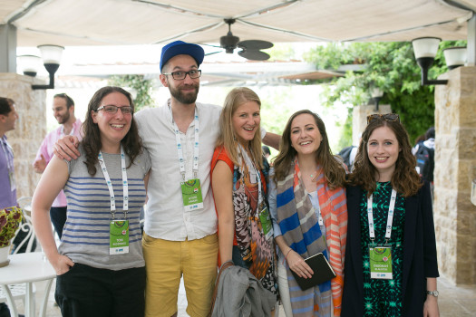 (l-r)  (L to R) ROI participants Toni Rickenback (UK); György Hámori (Hungary); Micaela Bacher (Argentina); Olivia Brafman (UK); Deborah Blausten (UK). Photo by Noa Magger.