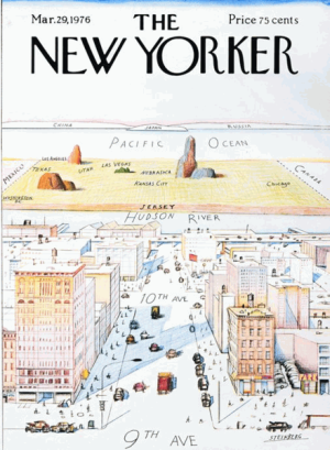 """Saul Steinberg's March 29, 1976 """"View of the World from Ninth Avenue"""" cover of The New Yorker; screen shot Wikipedia."""