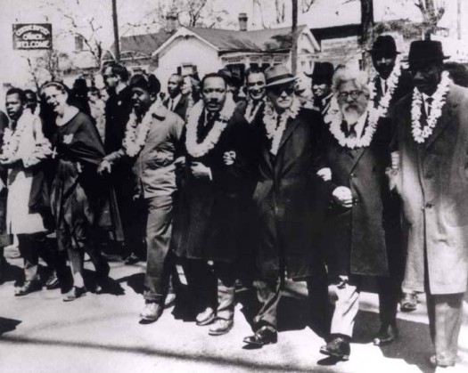 Rabbi Abraham Joshua Heschel (second from right), marches at Selma with Rev. Martin Luther King, Jr., Ralph Bunche, Rep. John Lewis, Rev. Fred Shuttlesworth and Rev. C.T. Vivian; courtesy of Susannah Heschel.