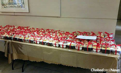 The finished food baskets, wrapped and ready for delivery. Photo courtesy Chabad.org/News.