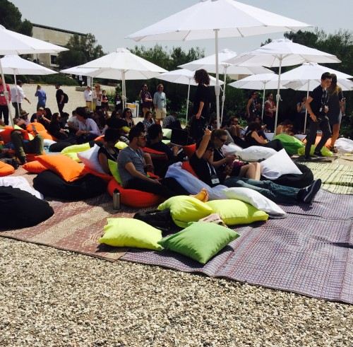 Attendees sit on bean bag chairs at the first-ever Forbes Under 30 EMEA (Europe, the Middle East, and Africa) summit. Photo credit: Maayan Jaffe-Hoffman.