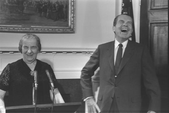 P.M. Golda Meir and President Richard Nixon addressing the White House Press Corps; courtesy Israel GPO.