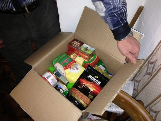 A food package containing coffee, oil, sugar, flour, honey, Jewish magazines, and other items distributed in Syktyvkar, Russia. Photo courtesy JDC.