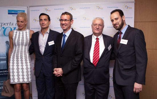 (l-r) Melanie Lavie; Limmud FSU International Steering Committee Chair Matthew Bronfman; Ambassador of Israel to the U.K. Mark Regev; Limmud FSU Founder Chaim Chesler; and Limmud FSU Europe Chairman Semyon Dovzhik. Photo courtesy Limmud FSU.