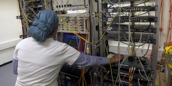 An ultra-Orthodox woman works at Matrix Global, a hi-tech company, in Modiin Illit.