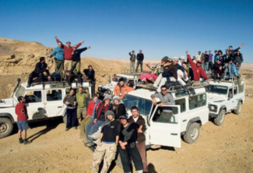 Birthright participants on a desert safari experience; archives photo.