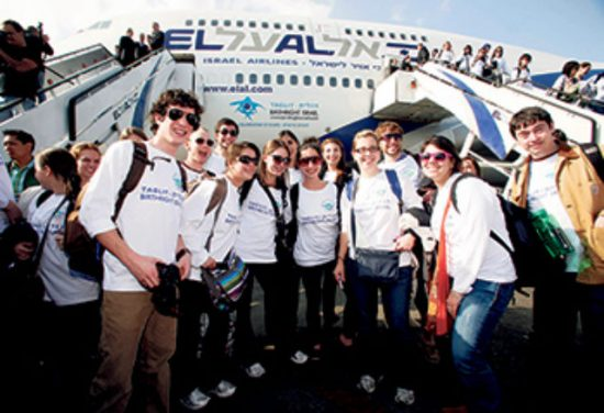 A planeload of young adults arrives in Israel in 2009, the 10th anniversary of the Birthright Israel program.
