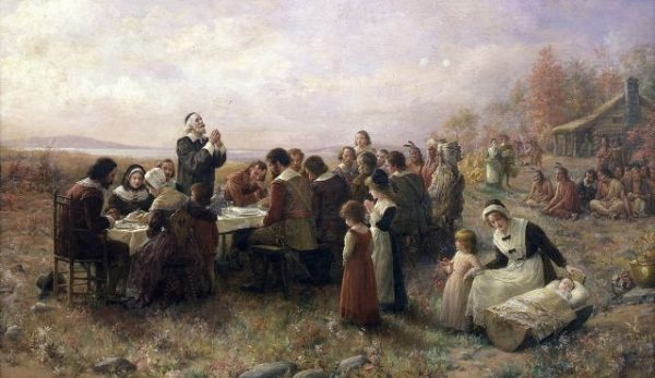 """The First Thanksgiving at Plymouth,"" oil on canvas by Jennie Augusta Brownscombe (1914). Photo credit: Stedelijk Museum De Lakenhal, Wikimedia Commons."